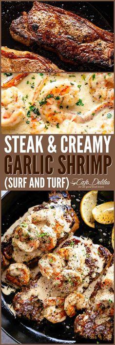 Steak & Creamy Garlic Shrimp (Surf and Turf) Steak & Creamy Garlic Shrimp (Surf & Turf) – Cafe Delites Healthy Diet Recipes, Healthy Meal Prep, Meat Recipes, Seafood Recipes, Cooking Recipes, Recipies, Garlic Shrimp Recipes, Shrimp Meals, Garlic Prawns