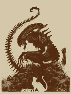 With Alien: Covenant coming up, fans have xenomorphs on the brain, and in this new artwork by artist Godmachine, a xenomorph is literally perching on top of a pile of them. Alien Vs Predator, Pet Sematary, Art Alien, Giger Alien, Alien 1979, Giger Art, Culture Pop, Aliens Movie, Poster Design