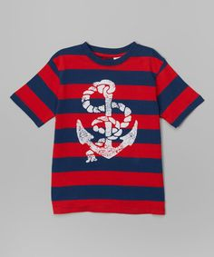 Look what I found on #zulily! Red & Blue Stripe Anchor Tee - Infant, Toddler & Boys #zulilyfinds