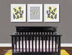 Baby Girl Nursery Artwork Set of 3 Yellow and by ElizabethBalint, $17.00