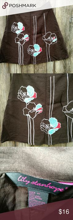 Lily Stanhope 10 Floral Embellished A-line Skirt Classic style with a modern twist and colors swing and swish as you run and play or work your ass off. Great condition.  Brown with white stitching against aqua and red flowers. Lily Stanhope Skirts A-Line or Full