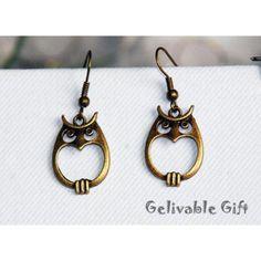 SALEOwl Earrings antique brass EO02 par Gelivablegift sur Etsy