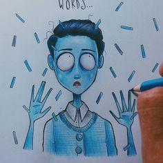 Tired Blue Boy walks my way...   @lucasmogerley   #pacifyher #crybaby #blueboy #timburton