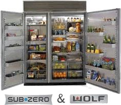 """Sub-Zero 48"""" side by side Fridge & Freezer with drink dispenser and ice maker.  This needs to go in my white kitchen with Wolf Stove/oven and all my William Sonoma Items to complete my dream Kitchen."""
