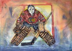 The Art of Hockey History - Tony Esposito, Chicago Black Hawks. Art by Cam Wilson www.hockeyartist.com