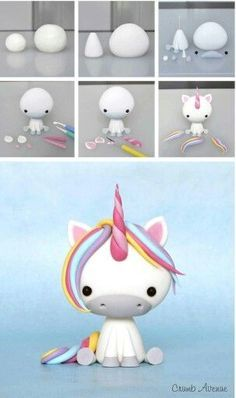 Clay unicorn but could use to make a fondant unicorn Baby Unicorn Tutorial More Baby Unicorn Tutorial - omg this is the cutest thing ever! photo tutorial - make a rainbow unicorn from fimo / polymer clay / flower paste / icing step by step guide for sitti Polymer Clay Projects, Polymer Clay Creations, Diy Clay, Fondant Figures, Clay Figures, Cake Fondant, Fondant Animals, Fondant Tutorial, Cake Topper Tutorial