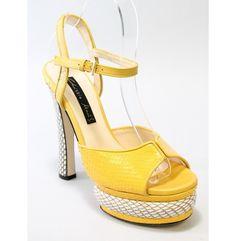 New Chrissie Morris Yellow White Python Stingray Open Toe Pumps Sz 36 5 6 5 | eBay
