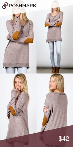 Long Sleeve Elbow Patch Tunic Top 50% Polyester, 47% Rayon, 3% Spandex. Tops Tees - Long Sleeve