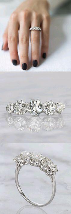 CAROLINE - Five Diamond Engagement Ring Circa 1915