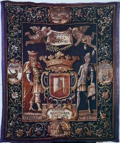 Portière tapestry of Stefan Koryciński by Anonymous from the Netherlands or Northern Germany, 1653-1658, National Museum in Kielce. #17thcentury #artinpl #topor #axe #coatofarms National Museum, Coat Of Arms, 17th Century, Axe, Anonymous, Netherlands, Germany, Tapestry, The Nederlands