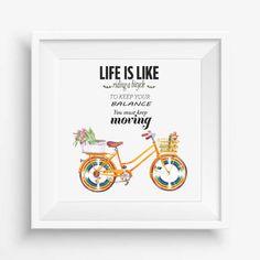 Life is like,bike rainbow, digital art print,digital watercolor,Kids Room Decor,inspiration quote,home decor,
