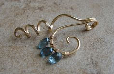 RESERVED LISTING for LONI - Three Little Water Drops - Gold Filled & London Blue Topaz Pendant