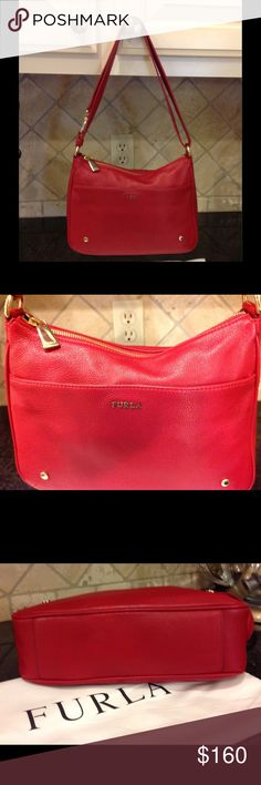 Furla Alissa Red Handbag Furla Red Leather Handbag, like new. Comes with dust bag, can be a cross body or adjust to shoulder bag, pocket on the outside, 11x8x3, very nice handbag, purchased from Furla website Furla Bags