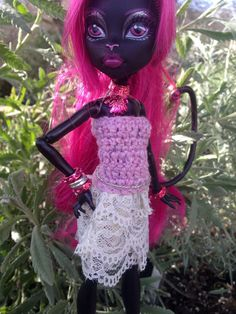 Monster Doll Clothes Pink Crochet Dress with by HauntedFashion