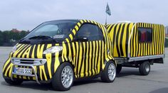 Tiger And Trailer Electric Smart Car, Smart Car Body Kits, Van Car, Smart Fortwo, Car Mods, Weird Cars, Cafe Shop, Small Cars, Car Wrap