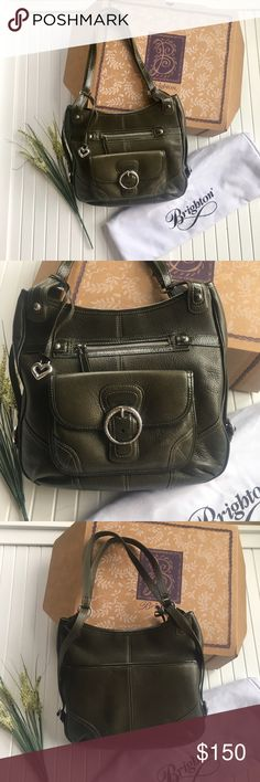 Brighton Andorra Leather Shoulder Bag Purse Brighton Andorra Olive Leather Shoulder Bag Purse New in Box and dust bag included. Perfect condition. 💐Bundle and get 20% off. Brighton Bags