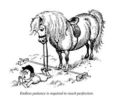Endless patience is required to reach perfection as the child prays for mercy beneath the onlooking pony; artist: Norman Thelwell. Published in Punch Magazine 10 October 1956. Buy this cartoon as a framed print, a canvas print or a wall poster.