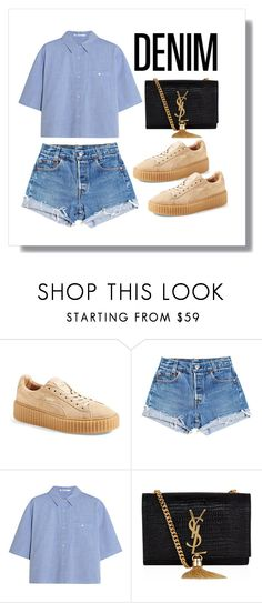 """creep."" by sierrastevie ❤ liked on Polyvore featuring Puma, Levi's, T By Alexander Wang and Yves Saint Laurent"