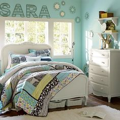 Graphic Patch Quilt & Sham | PBteen--really like the bedding, would match our bedroom
