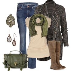 """Fall Casual Wear"" by smores1165 on Polyvore, I like everything but the boots... and why do all of these outfits have stupid scarves too?"
