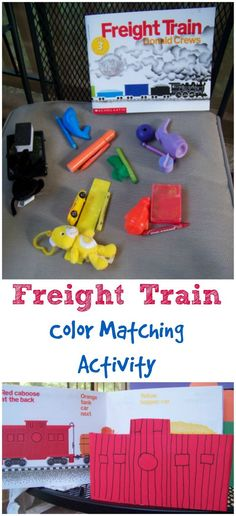 Love this color matching craft & fine motor activity -- perfect for toddlers & preschoolers!!  Tutorial on how to make your own 'freight train' from tissue boxes and set up a great color matching activity for your little engineer!