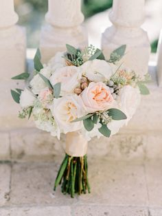peach roses and seeded eucalyptus wedding bouquet Neutral Wedding Flowers, Bridal Flowers, Floral Wedding, Peach Flowers, White Flowers, Flower Decorations, Wedding Decorations, Wedding Ideas, Bride Bouquets