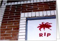 R.I.P. : sympathy for loss of a friend Card by asyrum . silentnights . memorial cards . sympathy greetings cards. rest in peace . grafitti . brick wall . stencils  http://www.zazzle.com/spider_r_i_p_stencil_greeting_card-137201893703524170?rf=238412752684280060