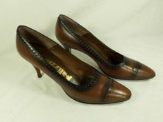 Womens shoes PALIZZIO brown leather HAND MADE VINTAGE cap toe heels pumps sz 7 N
