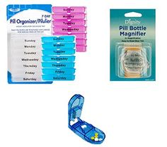 Get Your Health Organized with This Ultra 3 Pack Pill Organizer Set, 1 - Weekly Pill Organizer, 1 - Pill Cutter/ Splitter - and 1 - Pill Bottle Magnifier Excellent for Travel - Holds up to Four Doses. LBJ Personal Solutions http://www.amazon.com/dp/B01AQYDVDW/ref=cm_sw_r_pi_dp_i9NNwb1KH1QRM