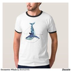 Geometric Whale Shirts whale half done in different colored polygons. With a geometric shape on the back of the whale.