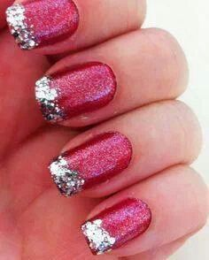 Snowflakereindeer nails winter christmas nail art winter nail red glitter nail polish with silver glitter tips prinsesfo Choice Image