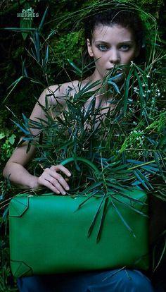"Metamorphosis, an Hermès story. Green ""Maxibox"" bag in Evercolor calfskin. Hermès 2014 spring-summer campaign seen in March 2014 Harper's Bazaar #avenueatet"