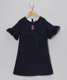 Take a look at this Navy Corduroy Initial Hendley Dress - Toddler & Girls by Smockadot Kids on #zulily today!