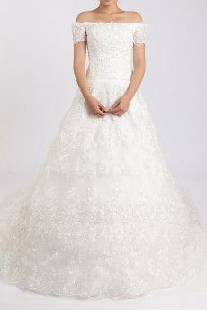 Lace Off-the-Shoulder Cathedral Train Ball Gown with Crystal
