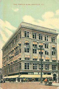 Danville, IL - Temple Building - Postcard Divided-Back.