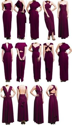 One-Dollar Wonders: DIY: Infinity Wedding Dress - I would LOVE an infinity dress. Infinity Dress Styles, Infinity Dress Tutorial, Infinity Dress Ways To Wear, Diy Fashion, Fashion Dresses, Color Fashion, Diy Vetement, Convertible Dress, Bridesmaid Dresses
