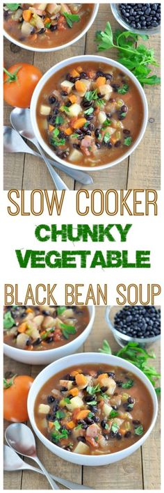 This healthy Chunky Vegetable Black Bean Soup is filled with lots of veggies to keep you energized throughout the day. Vegan and gluten free.