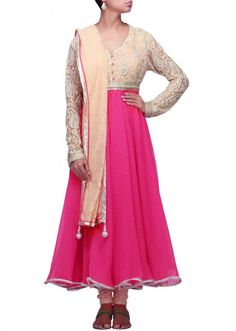 Pink anarkali suit featuring with embroidered yoke