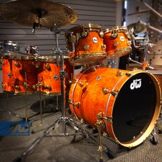 Amber Stain over Teardrop Quilted Maple. #dwdrums