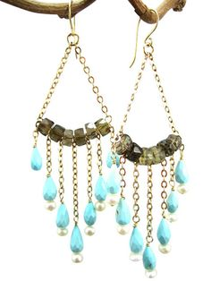 Smoky quartz beads on a wire with turquoise and freshwater pearls chain dangles. Diy Earrings Dangle, Paper Earrings, Wire Wrapped Earrings, Pearl Chain, Handcrafted Jewelry, Smoky Quartz, Beaded Jewelry, Jewelry Design, Fashion Jewelry