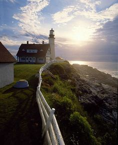 Portland Light on the Maine coast - looks so pretty.Would love to ride bikes here