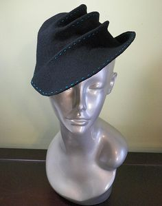Black Wool Hat with Aqua Blue TopStitching by BaublesAndWhatnots,  SOLD