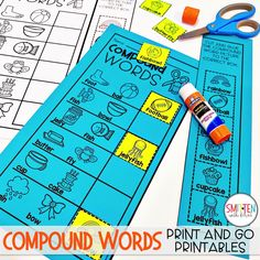 Compound Words Activities for Kindergarten, 1st grade, and 2nd grade