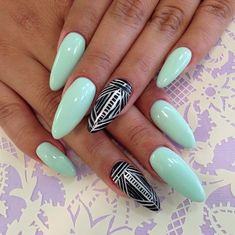mint green acrylic short nails | Mint Green and Black Stiletto Nails