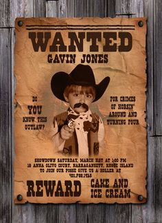 Wanted Poster Boy's Cowboy Birthday Invitation by inkdbykate, $1.95