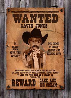 Cowboy birthday invitation cowboy western party invitation wanted poster boys cowboy birthday invitation filmwisefo