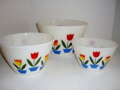 Vintage Bowls Fire King Tulip Bowls Set of Three by NanNasThings, $82.00