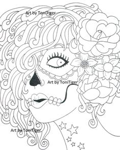 Instant Digital Download Coloring Page Sugar Skull by ToniTiger415