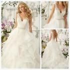 New White Ivory Appliques V-neck Tiered Wedding Dress 2 4 6 8 10 12 14 16 18 K57