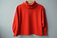 Vintage Toddler Clothes  Red Turtle Neck with Lace by NellsNiche, $12.00